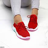 Яркие красные тканевые текстильные женские кроссовки на подошве мультиколор 36-23 37-23,5 39-24,5 41, фото 7