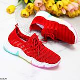 Яркие красные тканевые текстильные женские кроссовки на подошве мультиколор 36-23 37-23,5 39-24,5 41, фото 9
