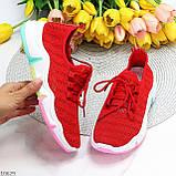 Яркие красные тканевые текстильные женские кроссовки на подошве мультиколор 36-23 37-23,5 39-24,5 41, фото 10