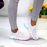 Білі тканинні текстильні жіночі кросівки на підошві мультиколор, фото 3