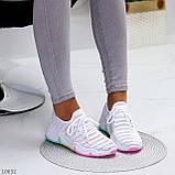 Белые тканевые текстильные женские кроссовки на подошве мультиколор, фото 6