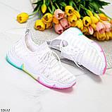 Білі тканинні текстильні жіночі кросівки на підошві мультиколор, фото 7
