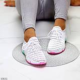 Белые тканевые текстильные женские кроссовки на подошве мультиколор, фото 8