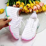 Білі тканинні текстильні жіночі кросівки на підошві мультиколор, фото 10