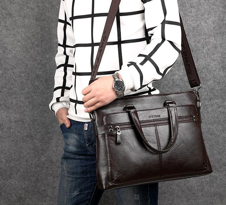 Мужская сумка для ноутбука эко кожа, мужской деловой портфель под ноутбук планшет лаптоп, макбук сумка-папка