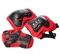 Набор детской Защиты на липучках для спортивных занятий: наколенники, налокотники и защита запястий, красный, фото 1