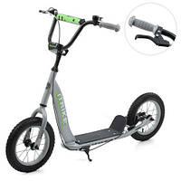 Самокат для дітей і дорослих Scooter на гумових колесах D=30см, кермо 73-85см, з ручним гальмом, сірий