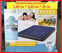 Надувной матрас двухместный Intex 64755 синий велюр 183x203x25 см, водный пляжный матрас для сна или плавания