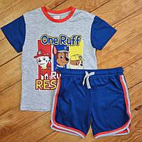 Летний комплект для мальчика, рост 98, цвет светло-серый и синий