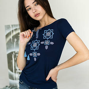 Синяя женская футболка Оберег с голубым