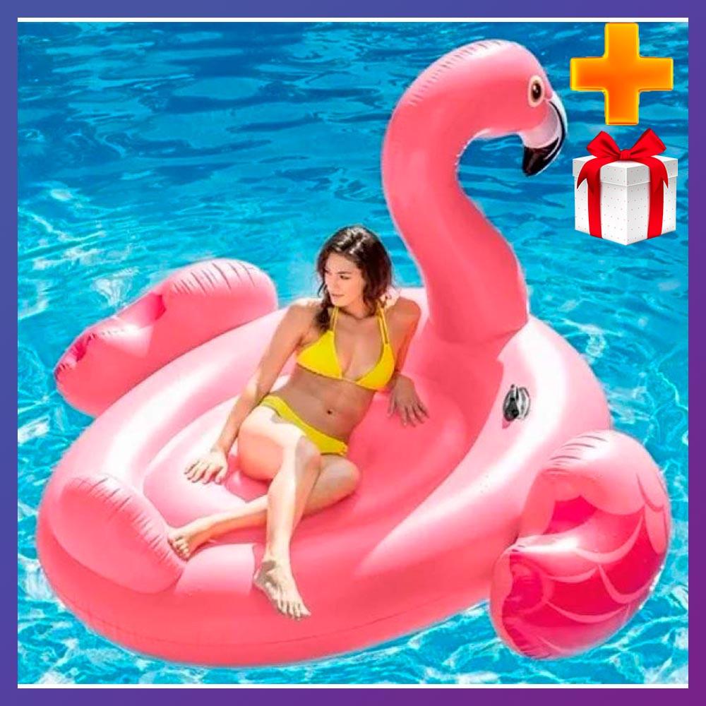 Надувной плот для катания Intex 57288 Фламинго 203 x 196 x 124 см + подарок