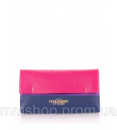 Клатч женский кожаный POOLPARTY Leather Pouch 2 Nite малиновый с синим, фото 1