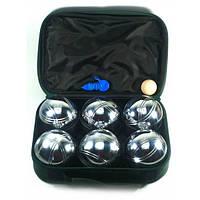 Петанк Бочче - Набор для игры в шары металлические, стальные 6 шт в чехле (Серебро) (вес шара 720 гр.)