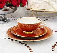 Антикварная чайная тройка, чашка, блюдце, тарелка, Porzellanfabrik Gareis, Kühnl & Co, Германия, фарфор