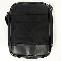 Сумка-мессенджер из эко-кожи+ткани. Модель №2. Цвет: черный