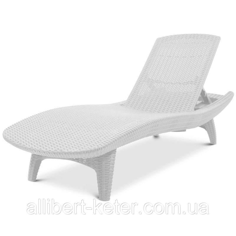 Шезлонг пластиковый пляжный Keter Pacific Lounger White ( белый ) ( Pacific )