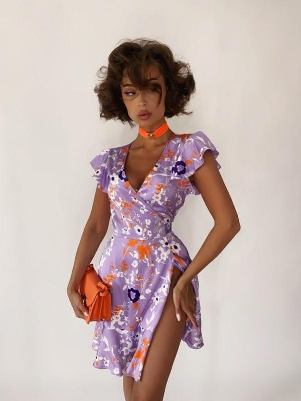 Плаття літнє на запах завдовжки міні, бомбічний принт