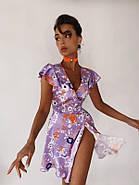 Платье летнее на запах длиною мини, бомбический принт, фото 2