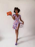 Платье летнее на запах длиною мини, бомбический принт, фото 7