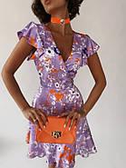Платье летнее на запах длиною мини, бомбический принт, фото 3