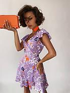 Платье летнее на запах длиною мини, бомбический принт, фото 4