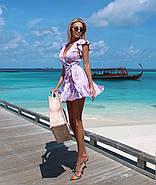 Платье летнее на запах длиною мини, бомбический принт, фото 6
