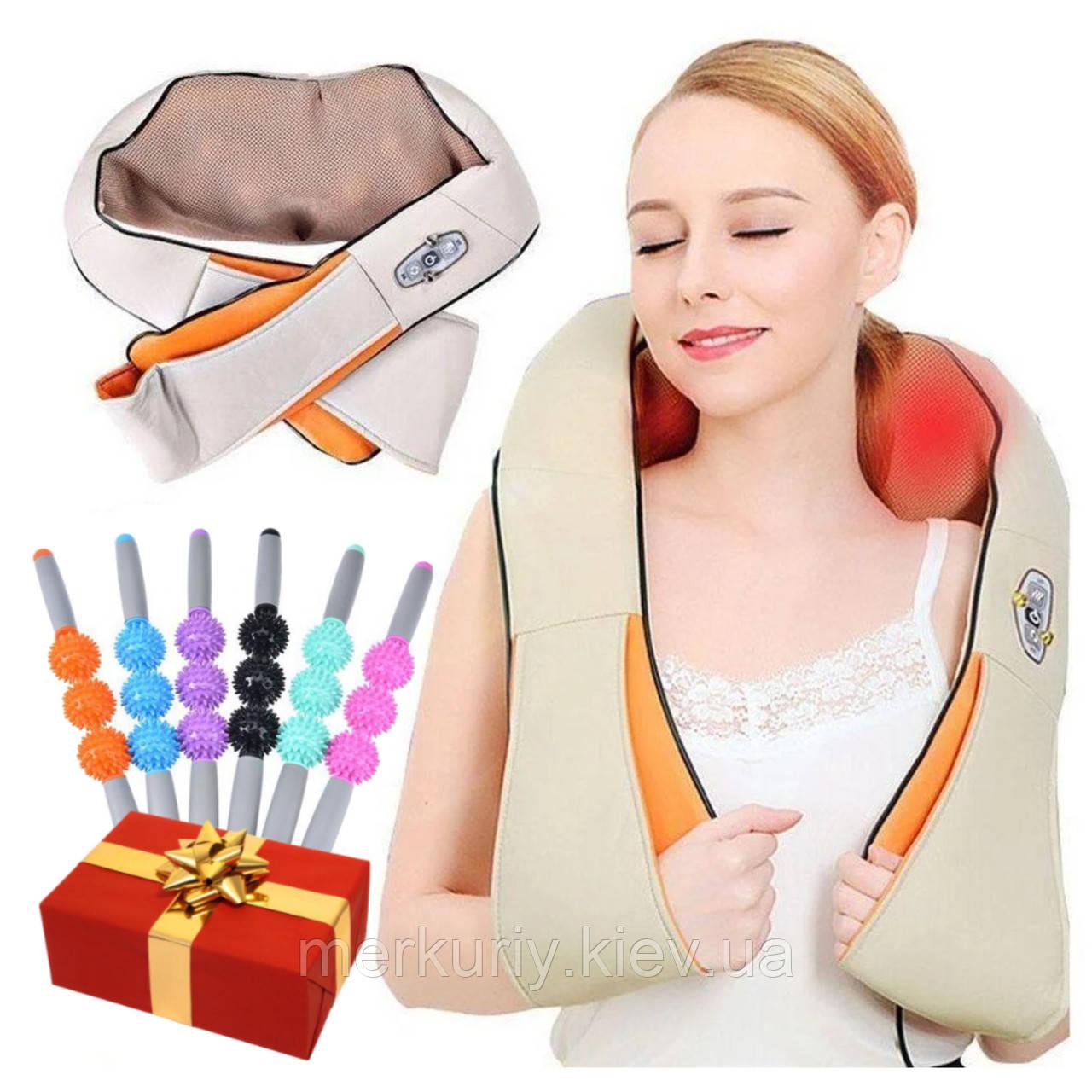Массажер для шеи спины с ИК-подогревом | Massager of neck kneading Plus | Роликовый массажер-накидка на плечи