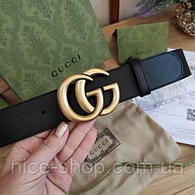 Ремінь Gucci шкіряний 3,8 см, преміум класу в коробці