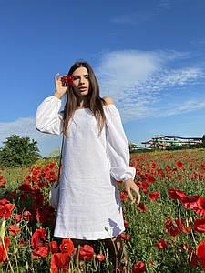 """Льняное платье-мини """"Annie"""" с оголенными плечами"""