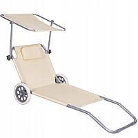 Шезлонг (лежак) для пляжа, террасы и сада с колесами и навесом Springos GC0041, фото 1