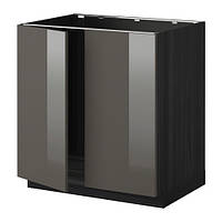 МЕТОД Напольн шкаф д раковины+2 двери, под дерево черный 80x60 см