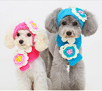 Шапка и шарфик с цветком для маленьких собак розового цвета