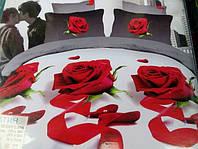 Постельное полуторное белье  Лилия с HD эффектом с красными розами