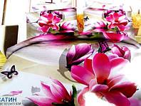 Постельное полуторное белье  Лилия с HD эффектом розовыми цветами