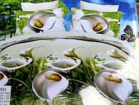 Полуторное постельное белье  Лилия с HD эффектом - белые каллы