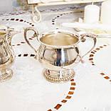 Посріблений набір: цукорниця і молочник, сріблення, мельхіор, Англія, вінтаж, фото 4