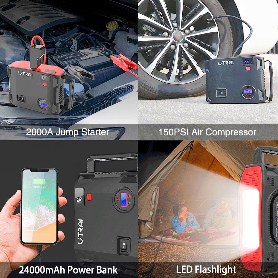 Пуско-зарядний пристрій+автокомпресор з автостопом UTRAI Jstar 5, 2000 А, 24000 мАг, 12 В, гарантія 1 рік