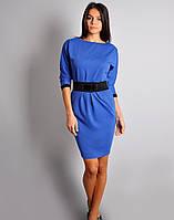 Женское стильное платье с поясом трикотаж синего цвета р.42