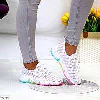 """Жіночі текстильні кросівки Білі """"Rainbow"""", фото 1"""
