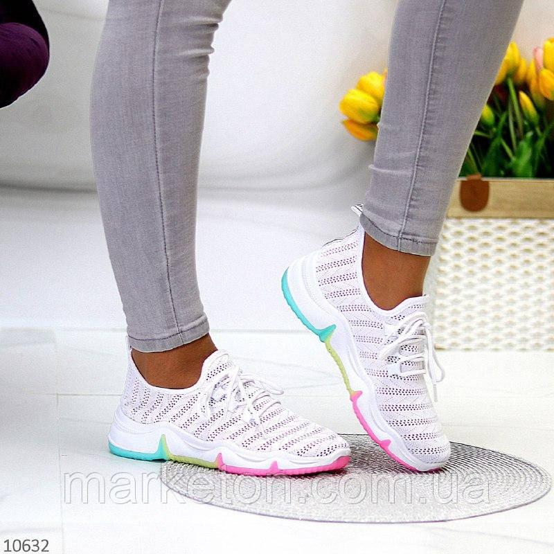"""Жіночі текстильні кросівки Білі """"Rainbow"""""""