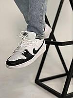 Мужские кроссовки Найк Джордан. Кожаные кроссы для мужчин Nike Air Jordan Retro1 Black White Low.