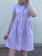 Женское короткое платье свободного кроя на пуговицах, фото 2