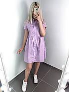 Женское короткое платье свободного кроя на пуговицах, фото 4