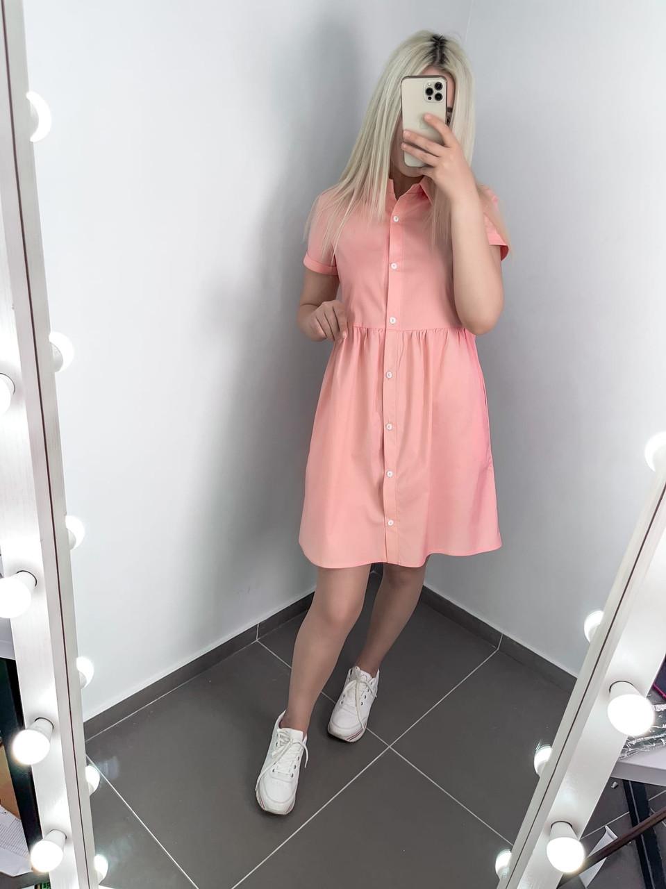 Літній жіночий одяг вільного крою на ґудзиках, довжиною міні