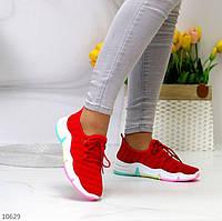 """Жіночі текстильні Червоні кросівки """"Rainbow"""""""