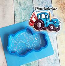 Трафарет + форма Синій трактор з ковшем