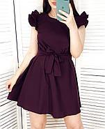 Коротке жіноче плаття вільного крою з поясом, рукав-подвійний рюш, фото 2