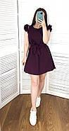 Короткое женское платье свободного кроя с поясом, рукав-двойной рюш, фото 4