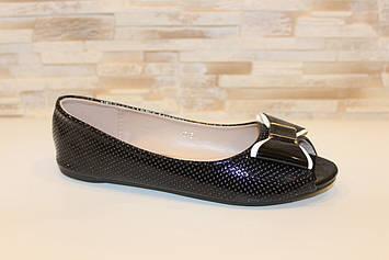 Балетки летние женские черные с открытым носком Б1156