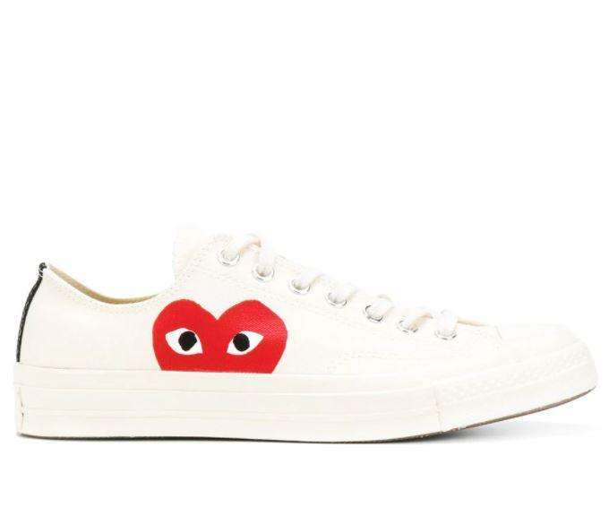 Кеди Converse x Comme Des Garcons Low White білі низькі (Жіночі кеди Конверс Гарсон білі)